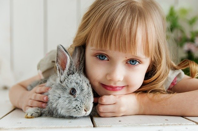 dítě s králíčkem